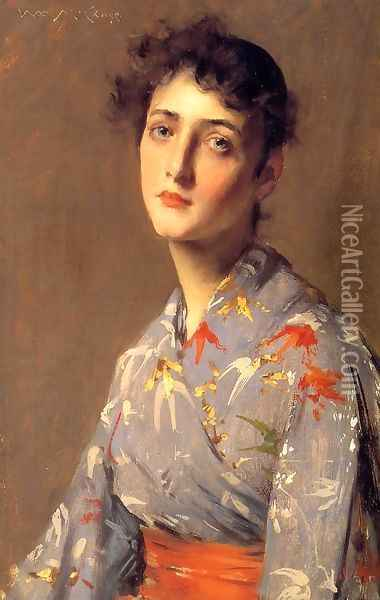 Girl In A Japanese Kimono Oil Painting - William Merritt Chase