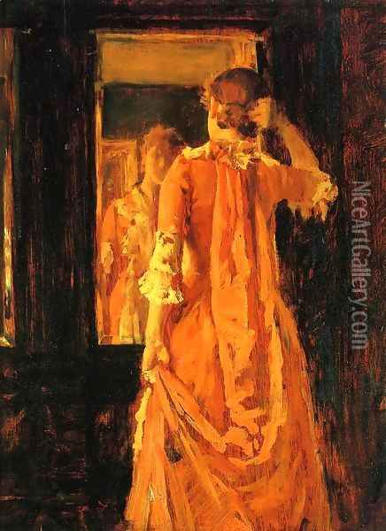 Young Woman Before a Mirror Oil Painting - William Merritt Chase