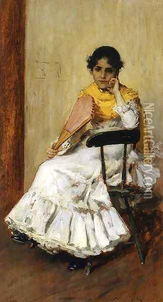 A Spanish Girl aka Portrait of Mrs. Chase in Spanish Dress Oil Painting - William Merritt Chase