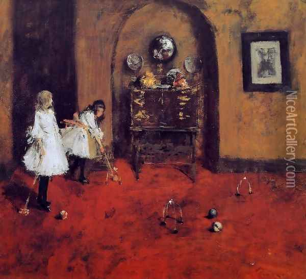 Children Playing Parlor Croquet (sketch) Oil Painting - William Merritt Chase