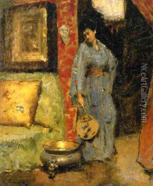 Woman in Kimono Holding a Japanese Fan Oil Painting - William Merritt Chase