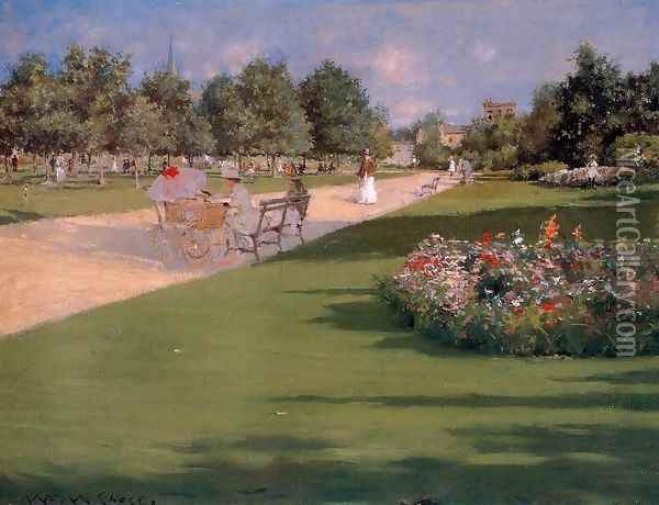 Tompkins Park Brooklyn Oil Painting - William Merritt Chase