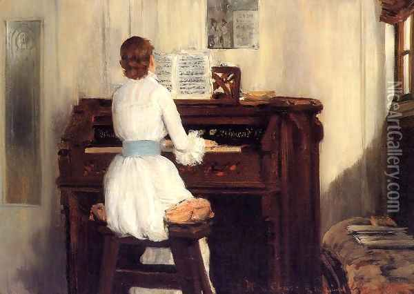 Mrs Meigs At The Piano Organ Oil Painting - William Merritt Chase