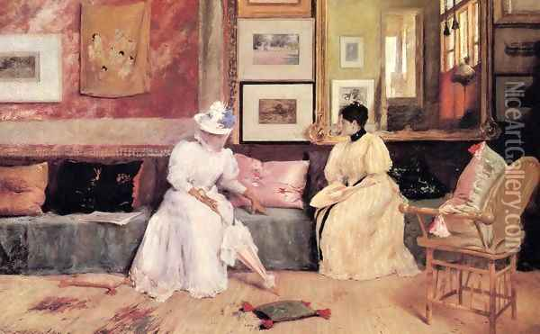 A Friendly Call Oil Painting - William Merritt Chase