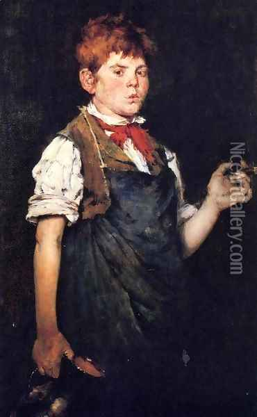The Apprentice (or Boy Smoking) Oil Painting - William Merritt Chase