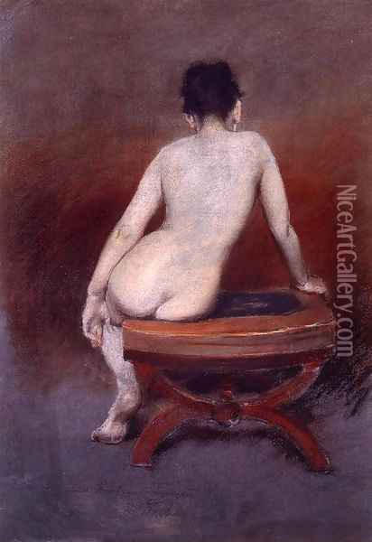 Back of a Nude I Oil Painting - William Merritt Chase