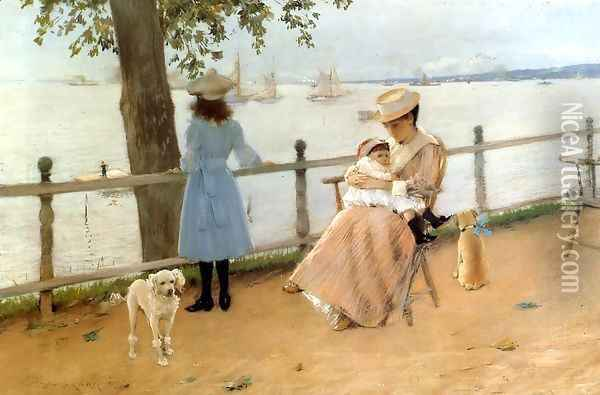 Afternoon by the Sea aka Gravesend Bay Oil Painting - William Merritt Chase