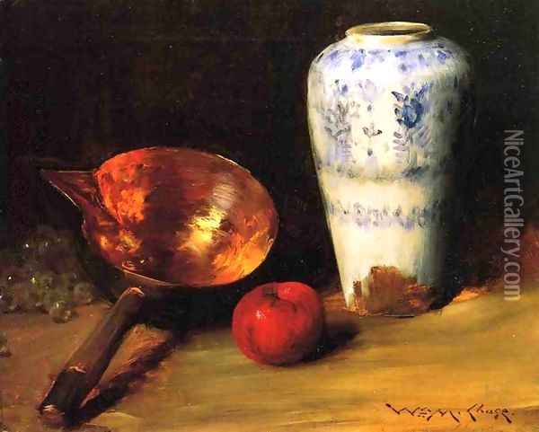 Still Liife with China Vase, Copper Pot, an Apple and a Bunch of Grapes Oil Painting - William Merritt Chase