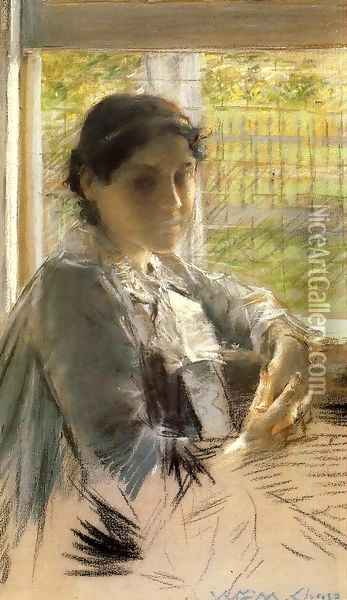 At The Window Oil Painting - William Merritt Chase