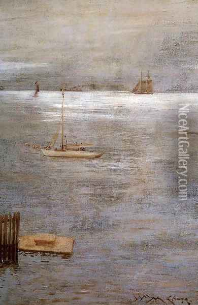 Sailboat At Anchor Oil Painting - William Merritt Chase