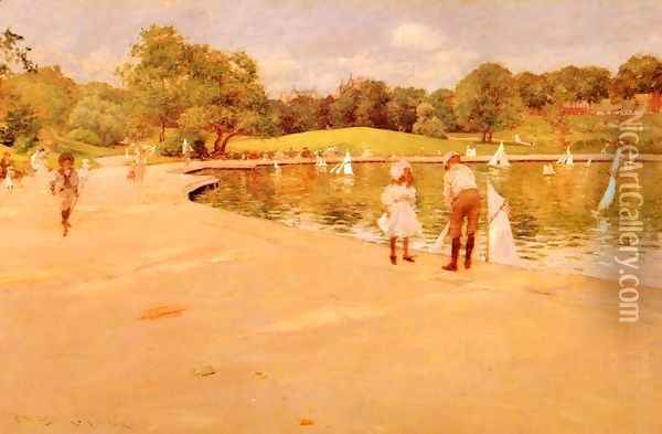 Lilliputian Boat-Lake - Central Park (or Lilliputian Boats in the Park; Central Park) Oil Painting - William Merritt Chase