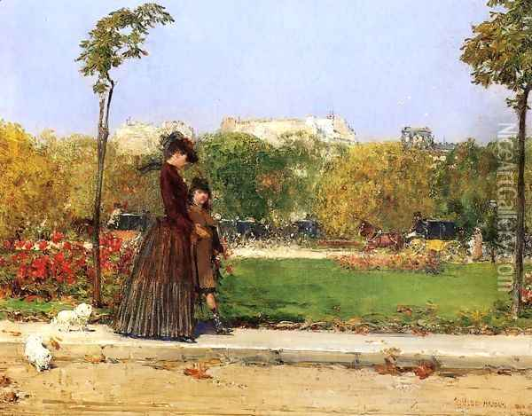 In the Park, Paris Oil Painting - William Merritt Chase