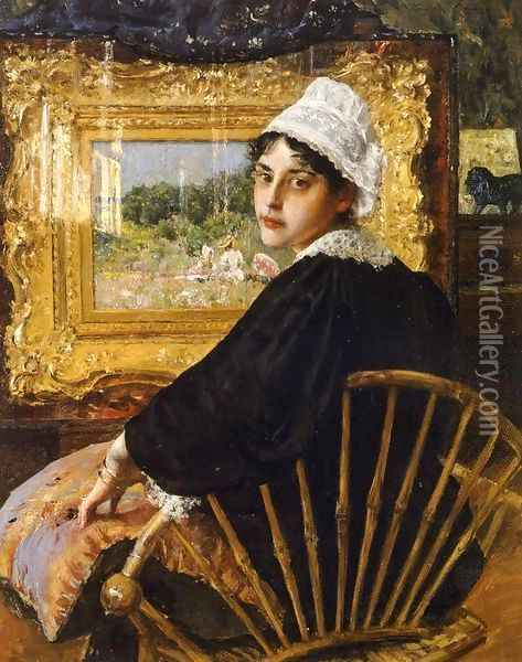 A Study aka The Artist's Wife Oil Painting - William Merritt Chase