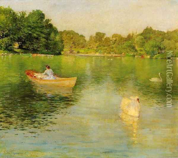 On The Lake Central Park Oil Painting - William Merritt Chase