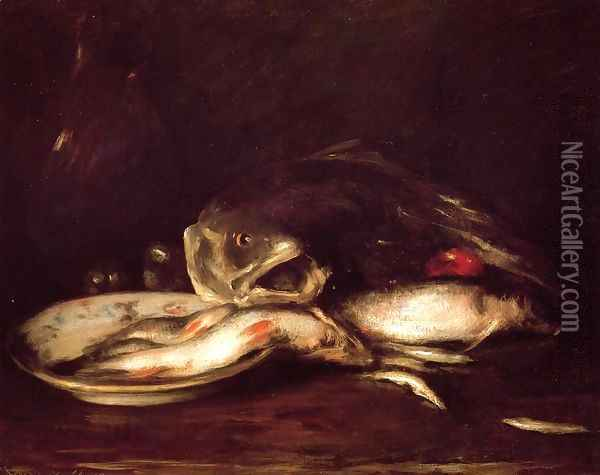 Still Llife with Fish and Plate Oil Painting - William Merritt Chase