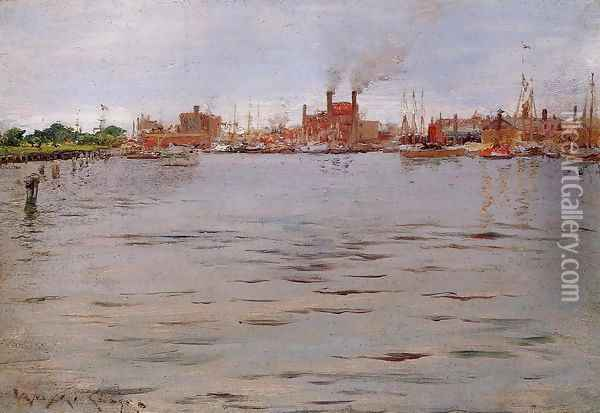 Harbor Scene Brooklyn Docks Oil Painting - William Merritt Chase