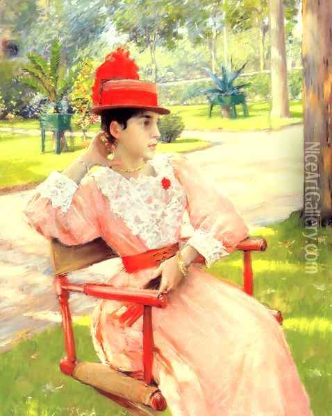 Afternoon in the Park Oil Painting - William Merritt Chase