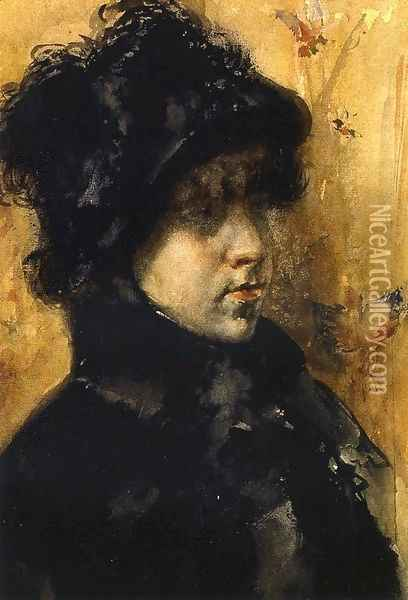 A Portrait Study Oil Painting - William Merritt Chase