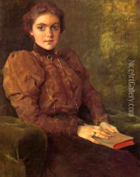 A Lady in Brown Oil Painting - William Merritt Chase