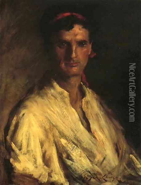 A Young Roman Oil Painting - William Merritt Chase