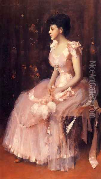 Portrait Of A Lady In Pink Oil Painting - William Merritt Chase