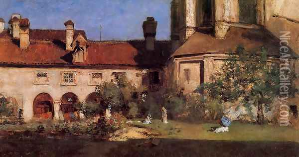The Cloisters Oil Painting - William Merritt Chase