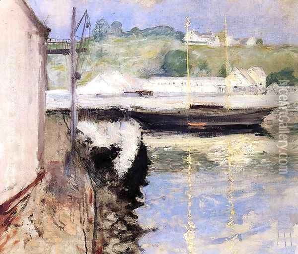 Fish Sheds and Schooner, Gloucester Oil Painting - William Merritt Chase
