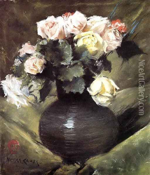 Flowers (or Roses) Oil Painting - William Merritt Chase
