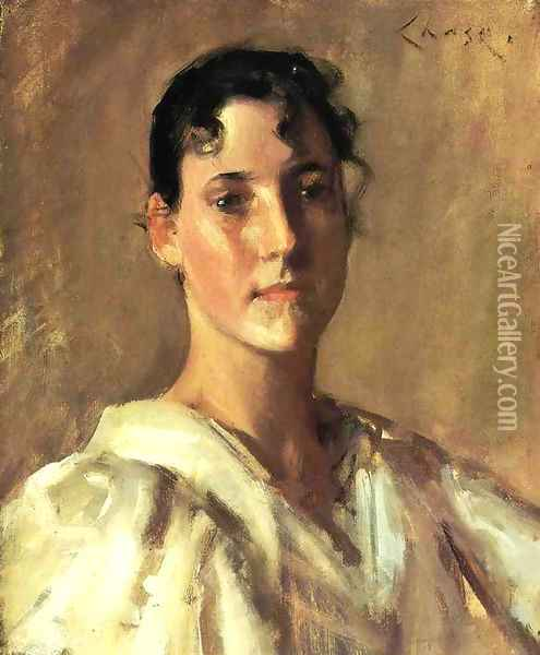 Portrait Of A Young Woman2 Oil Painting - William Merritt Chase