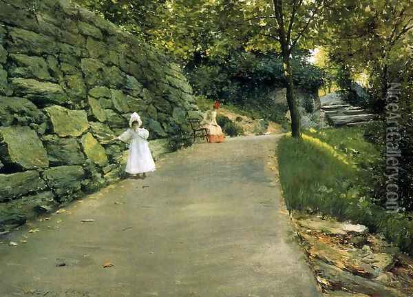In The Park A By Path Oil Painting - William Merritt Chase