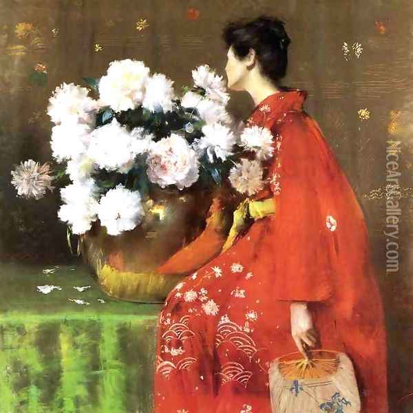 Peonies Oil Painting - William Merritt Chase