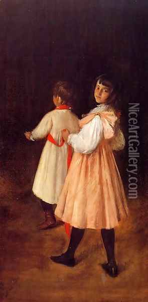 At Play Oil Painting - William Merritt Chase