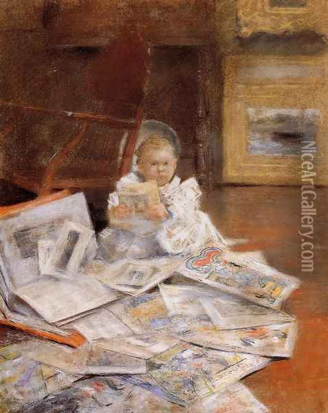 Child With Prints Oil Painting - William Merritt Chase
