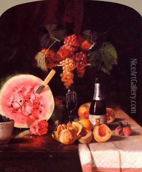 Still Life with Watermelon Oil Painting - William Merritt Chase