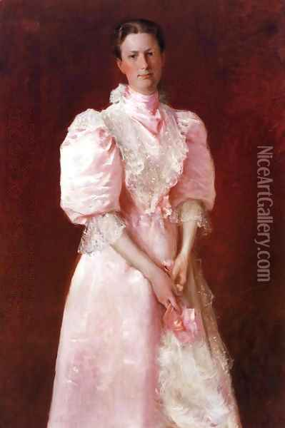 A Study in Pink Oil Painting - William Merritt Chase