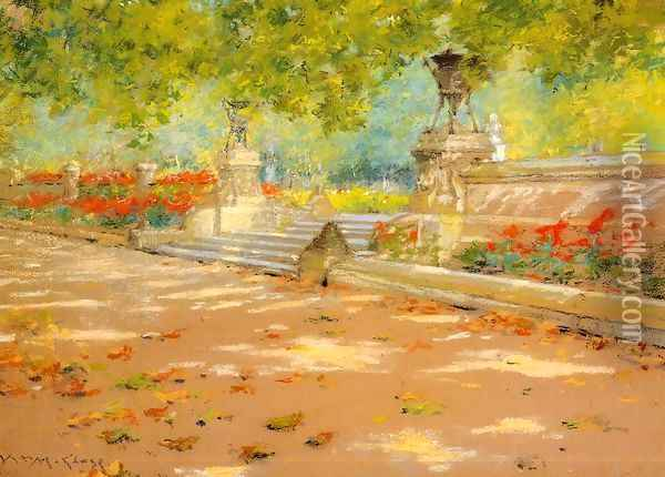 Terrace Prospect Park Oil Painting - William Merritt Chase