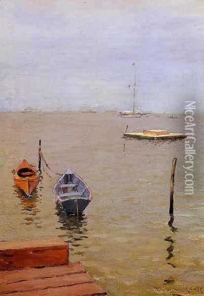 Stormy Day Bath Beach Oil Painting - William Merritt Chase