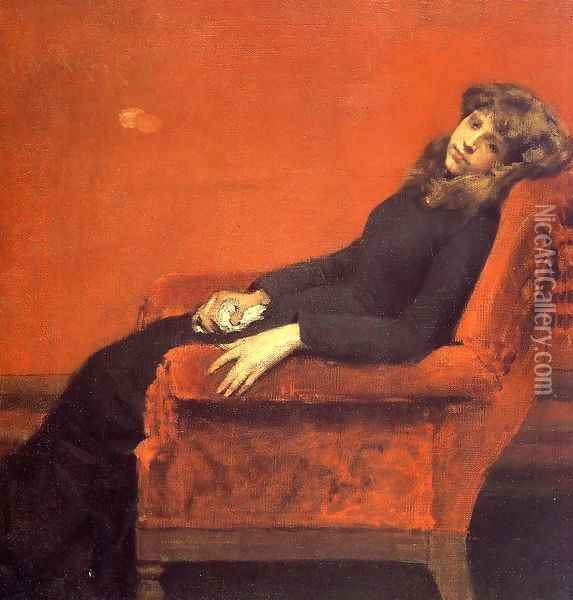The Young Orphan Study Of A Young Girl Oil Painting - William Merritt Chase