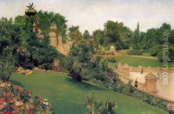 Terrace At The Mall Central Park Oil Painting - William Merritt Chase