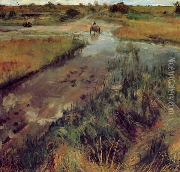 Swollen Stream At Shinnecock Oil Painting - William Merritt Chase