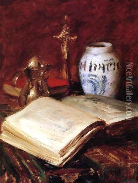 The Old Book Oil Painting - William Merritt Chase