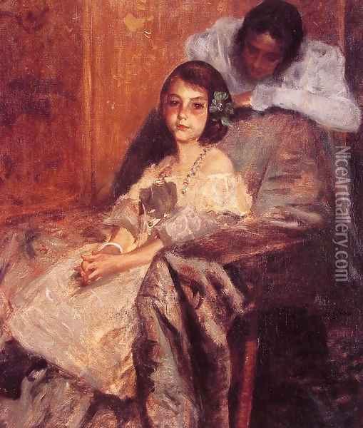 Dorothy And Her Sister2 Oil Painting - William Merritt Chase