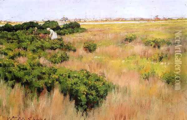 Landscape Near Coney Island Oil Painting - William Merritt Chase
