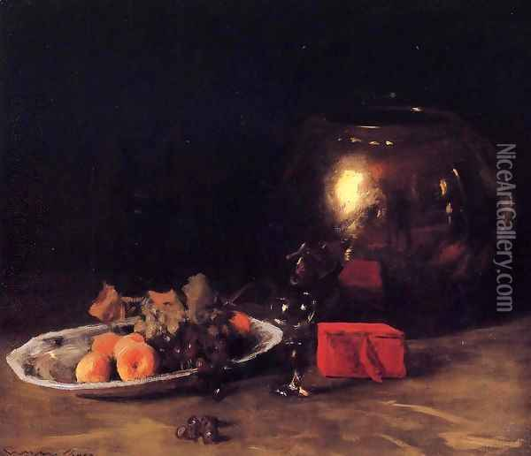 The Big Brass Bowl Oil Painting - William Merritt Chase