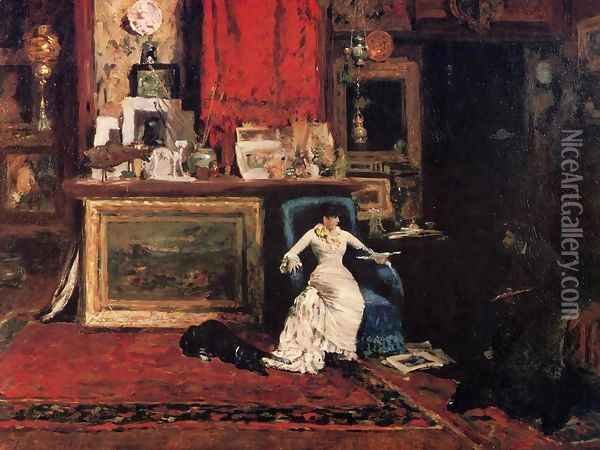 Interior Of The Artists Studio Aka The Tenth Street Oil Painting - William Merritt Chase
