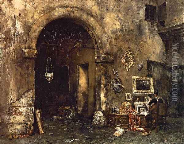 The Antiquary Shop Oil Painting - William Merritt Chase