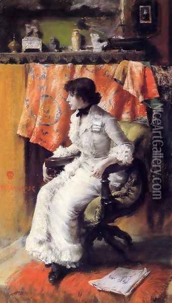 In The Studio (Virginia Gerson) Oil Painting - William Merritt Chase