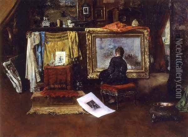 The Inner Studio, Tenth Street Oil Painting - William Merritt Chase