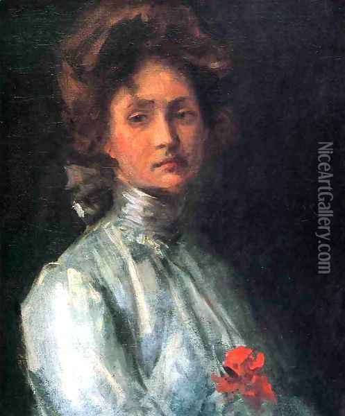 Portrait Of A Young Woman Oil Painting - William Merritt Chase