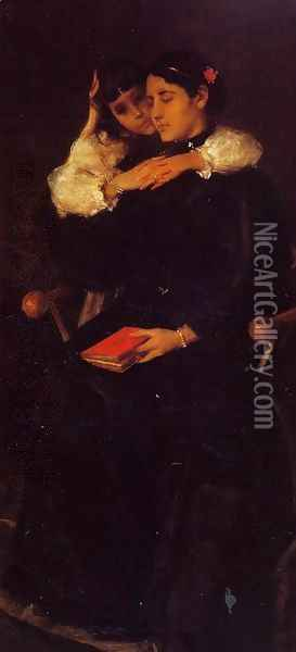 Mrs Chase And Cosy Oil Painting - William Merritt Chase